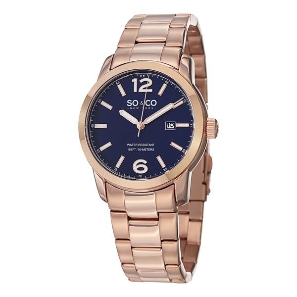 SO&CO New York Men's SoHo Quartz Date Stainless Steel Bracelet Watch - Gold
