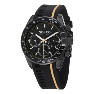 SO&CO New York Men's Monticello Quarz Multifunction Watch with Black Rubber Strap
