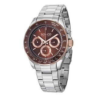 SO&CO New York Men's Monticello Quartz Multifunction Watch with Stainless Steel Link Bracelet