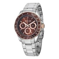 SO&CO New York Men's Monticello Quartz Multifunction Watch with Stainless Steel Link Bracelet - Silver