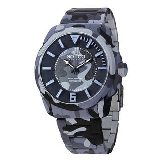 SO&CO New York Men's SoHo Quartz Blue Comouflage Watch with Stainless Steel Bracelet|https://ak1.ostkcdn.com/images/products/10111123/P17250865.jpg?impolicy=medium