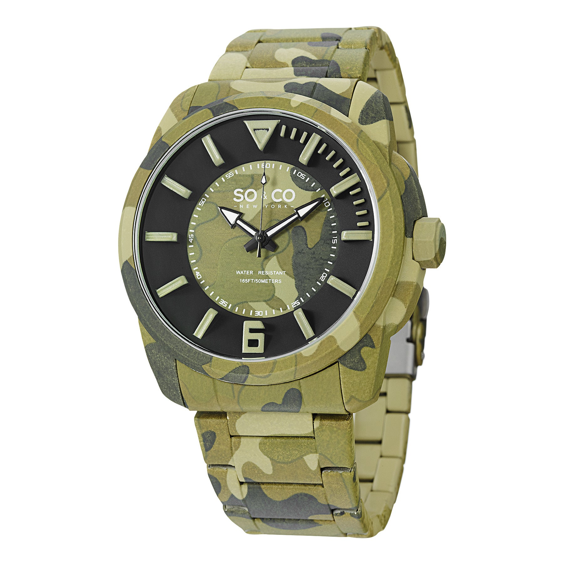 So&co New York Men's SoHo Quartz Green Comouflage Watch w...