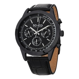 SO&CO New York Men's Monticello Quartz Multifunction Black Watch with Leather Strap