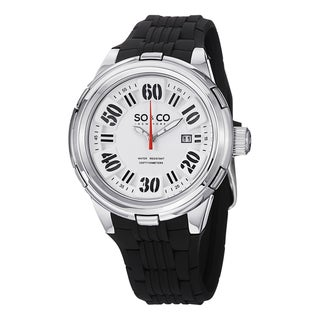 SO&CO New York Men's SoHo Quartz Watch with Black Rubber Strap