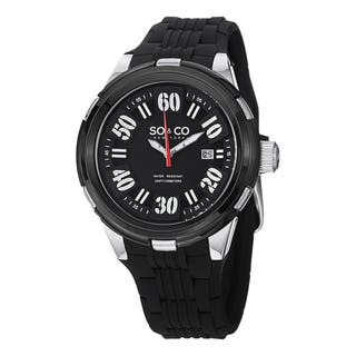 SO&CO New York Men's SoHo Quartz Watch with Black Rubber Strap|https://ak1.ostkcdn.com/images/products/10111144/P17250878.jpg?impolicy=medium
