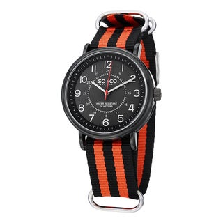 SO&CO New York Men's SoHo Quartz Watch with Orange and Orange Striped Canvas Strap