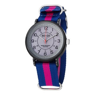 SO&CO New York Unisex SoHo Quartz Watch with Blue and Pink Strip Canvas Strap