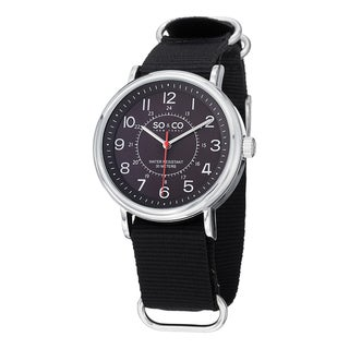 SO&CO New York Men's SoHo Quartz Luminous Dial Watch with Black Canvas Strap