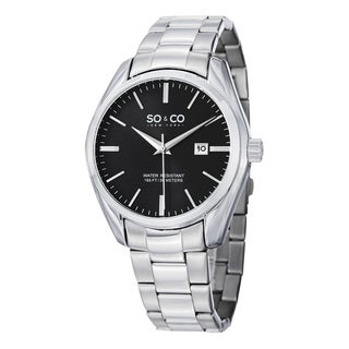 SO&CO New York Men's Madison Quartz Date Watch with Stainless Steel Link Bracelet