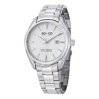 SO&CO New York Men's Madison Quartz Link Date Watch with Stainless Steel Link Bracelet
