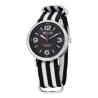 SO&CO New York Men's SoHo Quartz Watch with Black and White Strip Canvas Strap
