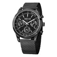 SO&CO New York Men's Monticello Black Watch with Stainless Steel Mesh Strap