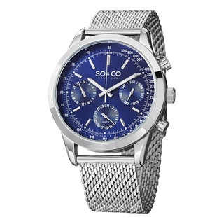 SO&CO New York Men's Monticello Stainless Steel Watch with Mesh Bracelet