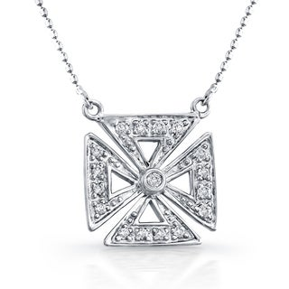 Victoria Kay 14k White Gold and 1/6ct TDW Diamond Square Chopper Cross Necklace