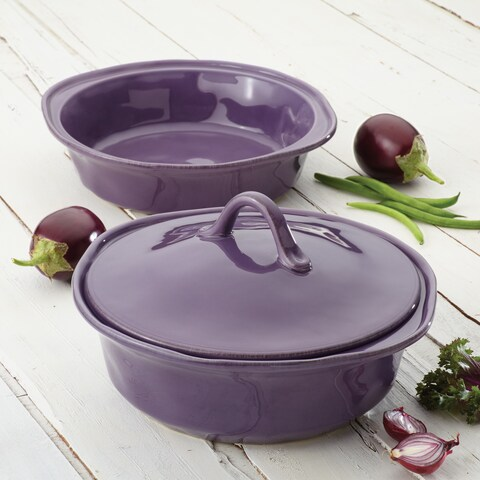 Rachael Ray Cucina Lavender Stoneware 3-piece Casserole and Lid Set