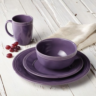 Rachael Ray Cucina Dinnerware 16-piece Lavender Purple Stoneware Dinnerware Set : purple dinnerware set - pezcame.com
