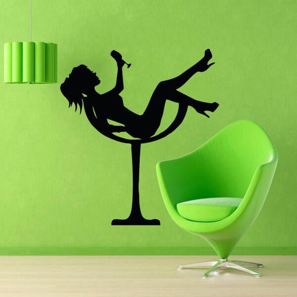 Shop Martini Glass Girl Sticker Vinyl Wall Art - Free Shipping On ...