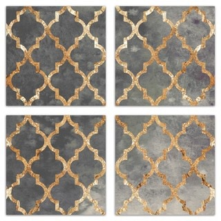 Burst Creative 'Arabesque Gold Triptych' Canvas Art