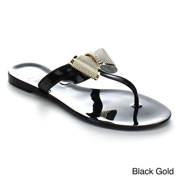 7070e1174be6 Shop Soda Glade Women s Rhinestone Tux Bow Tie Jelly Flat Sandals ...