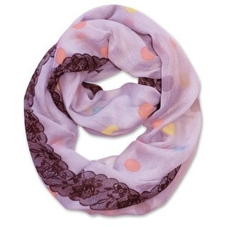 Peach Couture Multi Polka-dot Circle and Lace Print Infinity Loop Scarf (Lavender)
