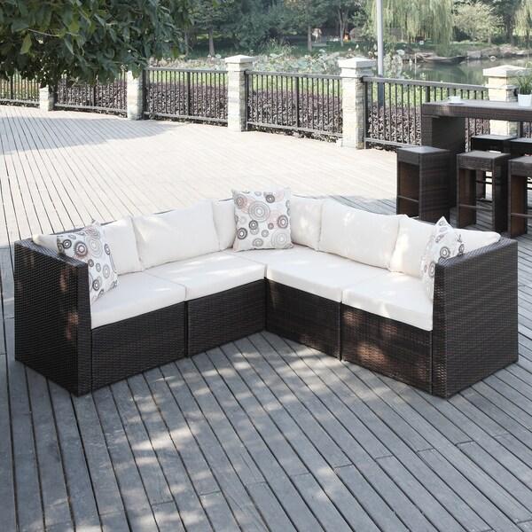Handy Living Aldrich Brown Indoor/ Outdoor 5 Piece Sectional Set  Indoor Patio Furniture