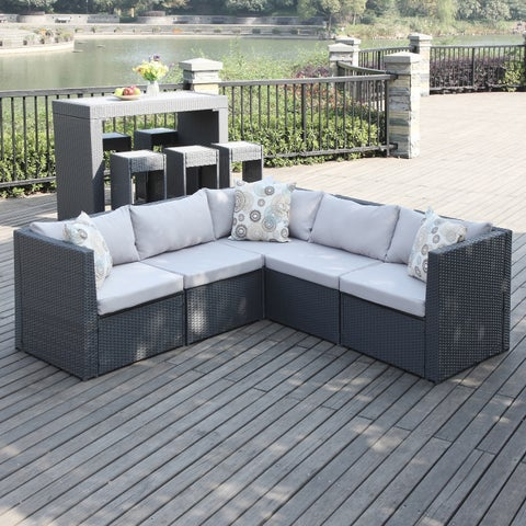 Havenside Home Stillwater Grey Indoor/Outdoor 5-piece Sectional Set