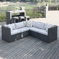 Handy Living Aldrich Grey Indoor/Outdoor 5-piece Sectional Set