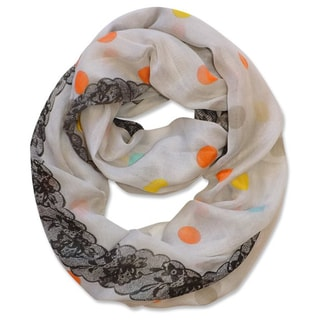 Peach Couture Multi Polka Dot Circle and Lace Print Infinity Loop Scarf (Ivory)