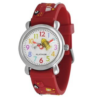 Geneva Platinum Kid's Fire Truck Design Silicone Band Watch