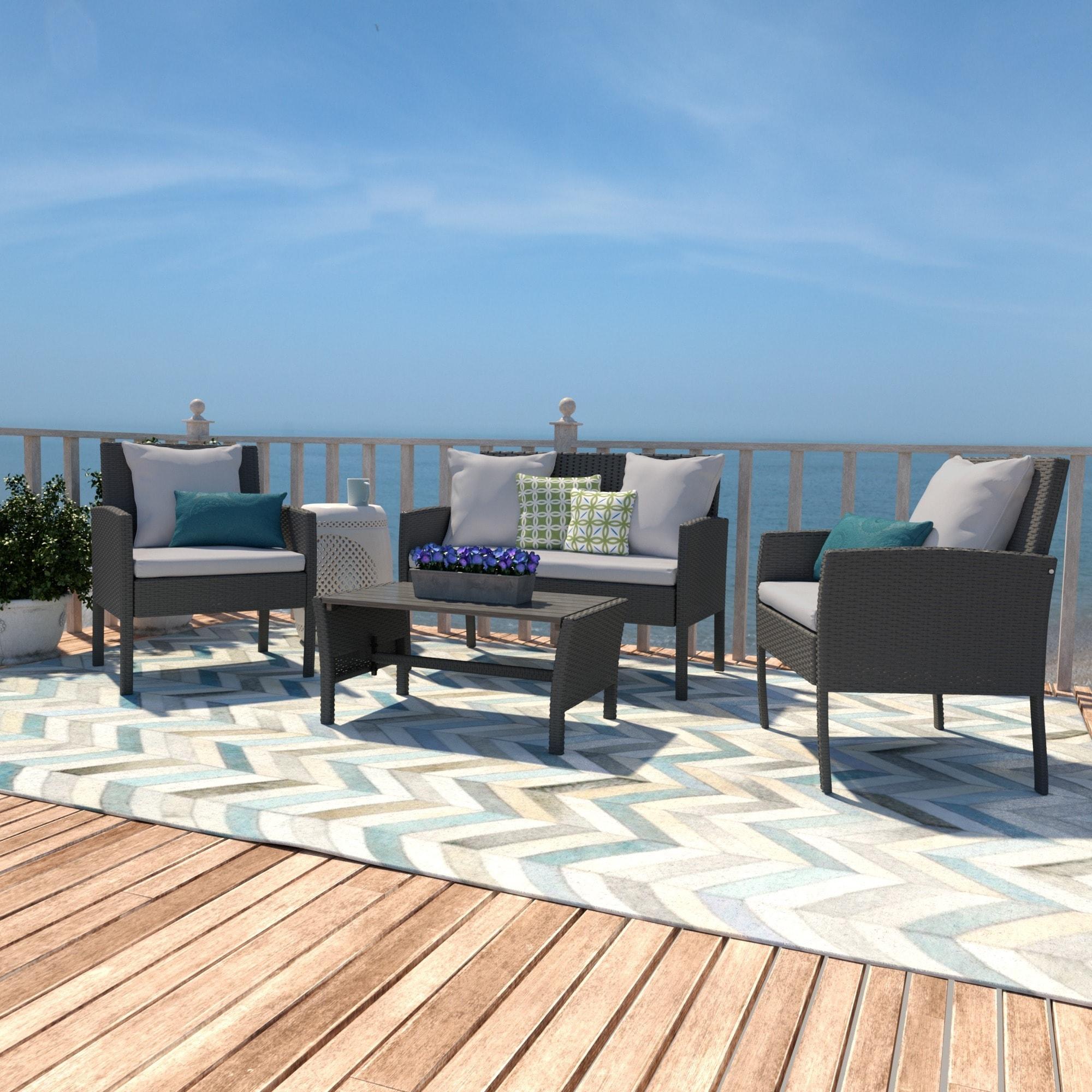 Handy Living Aldrich Grey 4-piece Indoor/Outdoor Seating Grouping ...