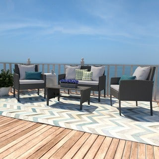 Havenside Home Stillwater Grey 4-piece Indoor/Outdoor Seating Grouping