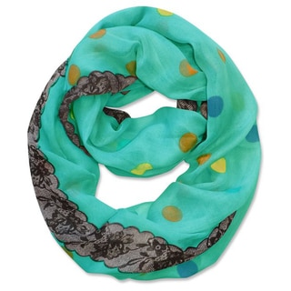 Peach Couture Multi Polka-dot Circle and Lace Print Infinity Loop Scarf (Aqua)
