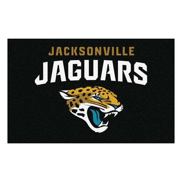Fanmats Machine-made Jacksonville Jaguars Black Nylon Ulti-Mat (5' x 8')