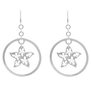 Journee Collection Sterling Silver Flower Dangle Earrings