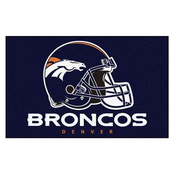 Fanmats Machine-made Denver Broncos Blue Nylon Ulti-Mat (5' x 8')