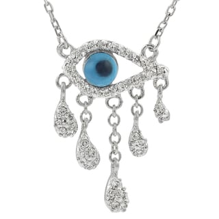 Journee Collection Sterling Silver Cubic Zirconia Egyptian Eye Pendant