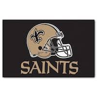 Fanmats Machine-made New Orleans Saints Black Nylon Ulti-Mat (5' x 8')