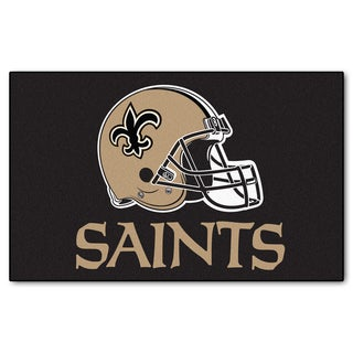 Fanmats Machine-made New Orleans Saints Black Nylon Ulti-Mat (5' x 8')