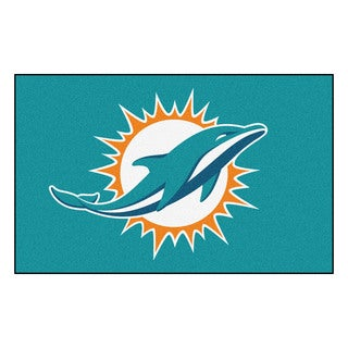 Fanmats Machine-made Miami Dolphins Turquoise Nylon Ulti-Mat (5' x 8')