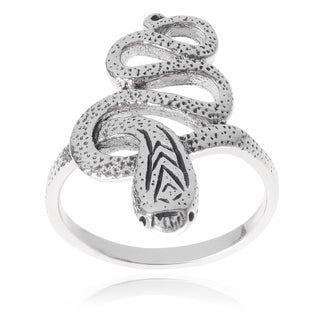 Journee Collection Women's Sterling Silver Snake Ring