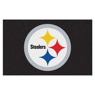 Fanmats Machine-made Pittsburgh Steelers Black Nylon Ulti-Mat (5' x 8')