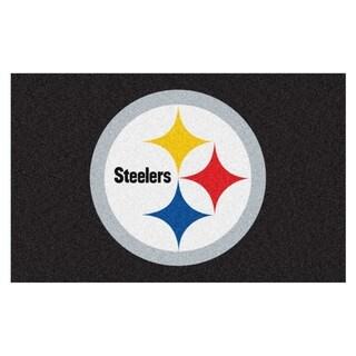 Fanmats Machine-made Pittsburgh Steelers Black Nylon Ulti-Mat (5' x 8')