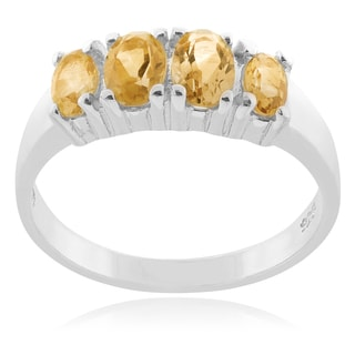 Journee Collection Sterling Silver Citrine 4-stone Ring