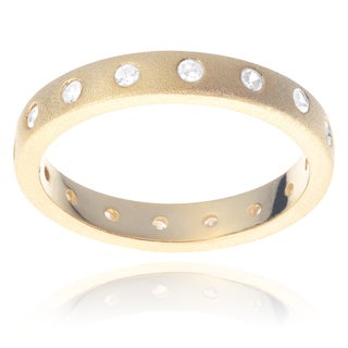 Journee Collection Gold Tone Sterling Silver Cubic Zirconia Eternity Ring