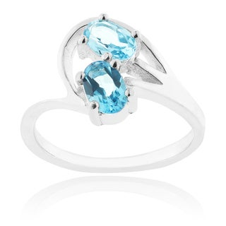 Journee Collection Sterling Silver Genuine Blue Topaz Oval Cut Ring