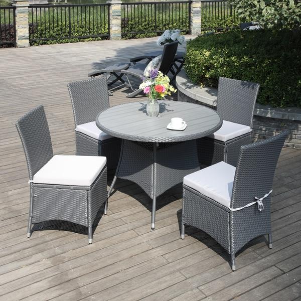 portfolio aldrich grey indoor outdoor 5 piece round dining set free