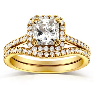 Annello by Kobelli 14k Yellow Gold 1 1/2ct TDW Radiant-cut Halo Diamond Bridal Rings Set