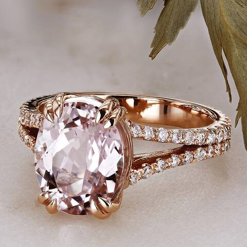 Annello by Kobelli 14k Rose Gold 3 4/5ct TGW Oval-cut Kunzite Pink Gemstone and Diamond Split Shank Ring