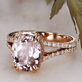 Annello by Kobelli 14k Rose Gold Oval-cut Kunzite and 1/2ct TDW Diamond Ring (G-H, I1-I2)