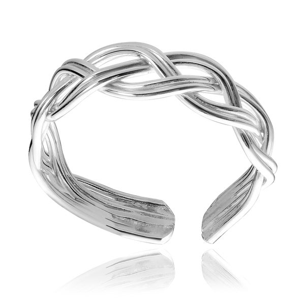 Journee Collection Sterling Silver Handmade Braided Ear Cuff